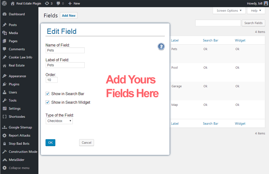 <p>Fields Page Setup</p>