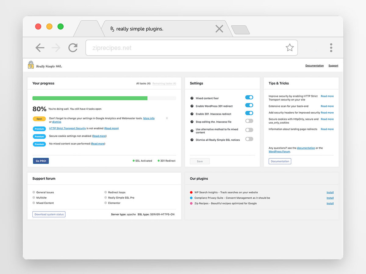 Improve security with Really Simple SSL. Fully guided and documented