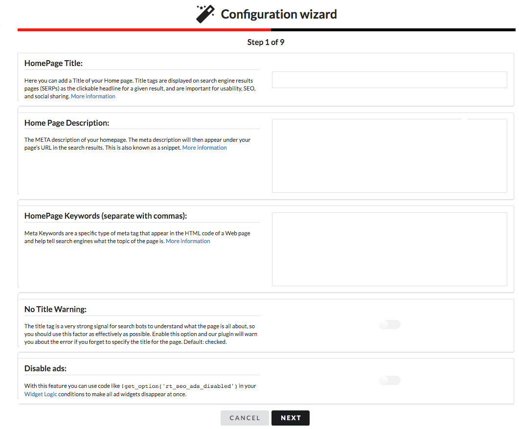 Example of the RealTime SEO configuration wizard.