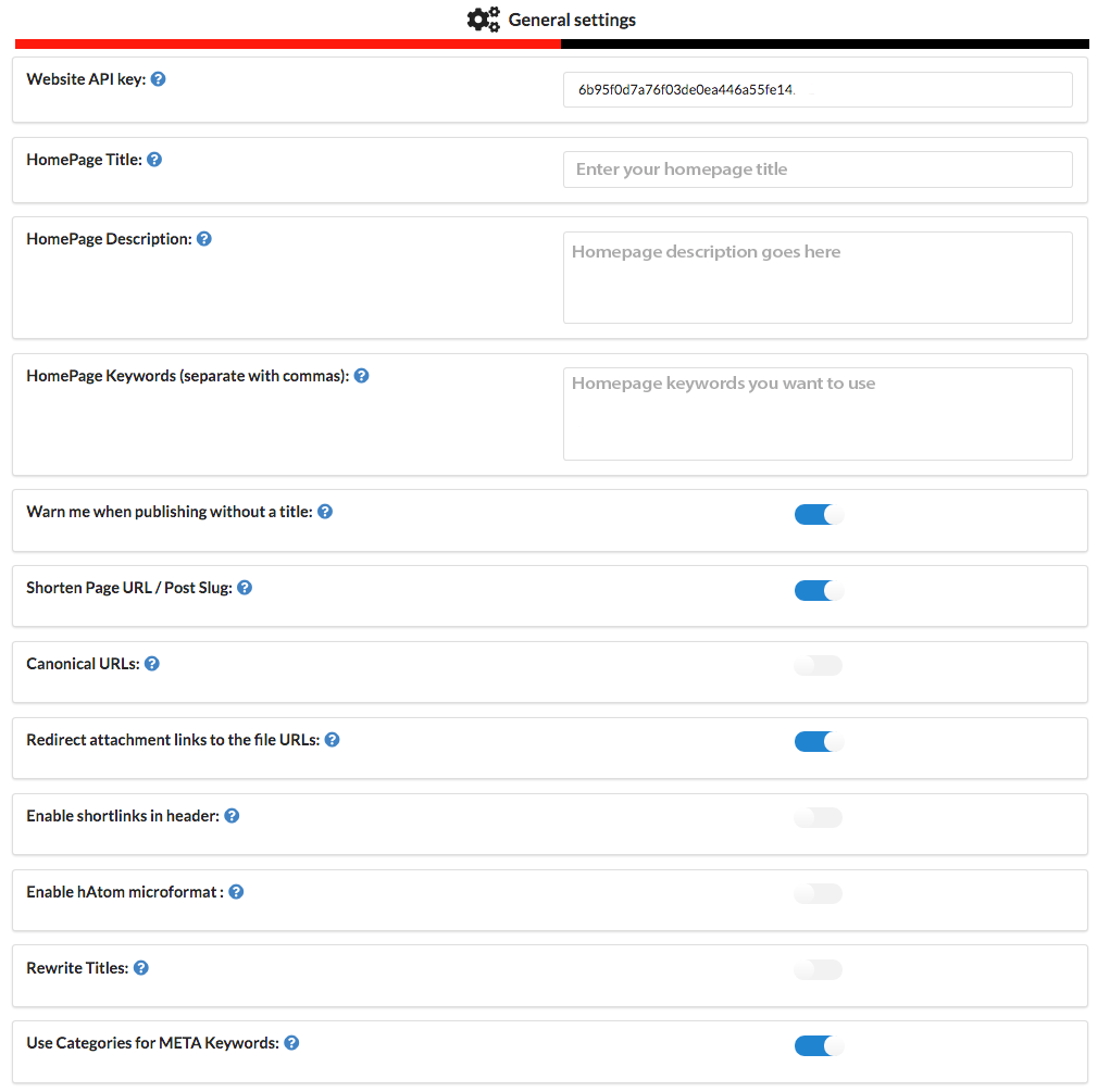 RealTime SEO General settings example.