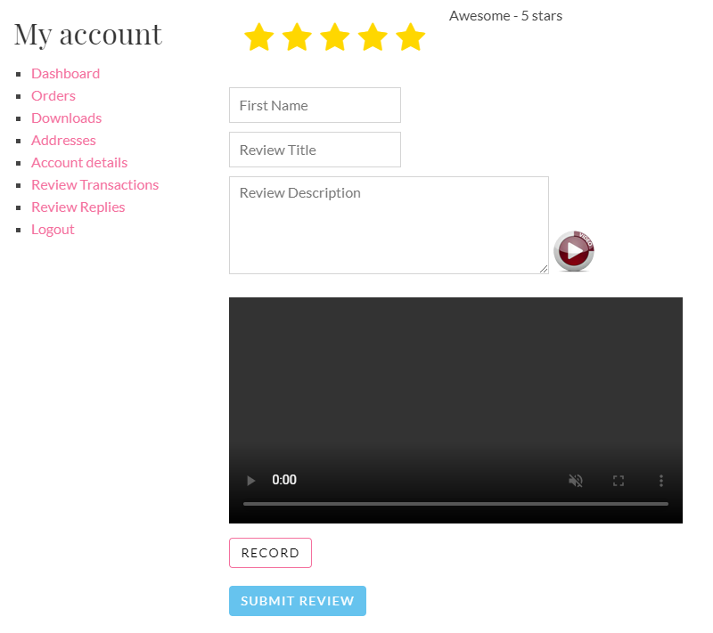 This is the review posting section for every transaction from your website.