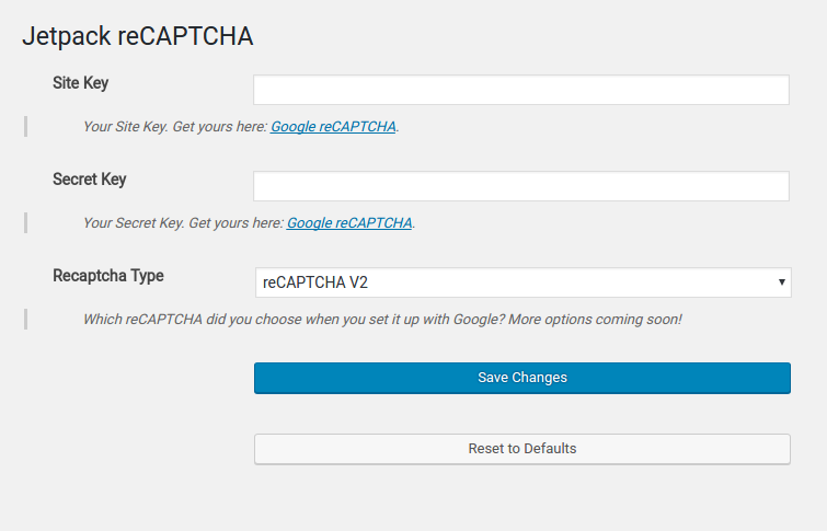 "Register with <a href=""https://www.google.com/recaptcha/"">Google reCAPTCHA</a> and fill in your site key, and secret key (also, choose which kind of reCAPTCHA; see other screenshots for examples)"