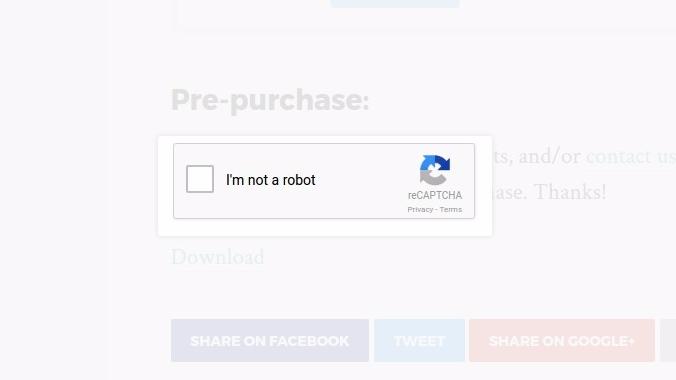 reCaptcha popup after clicking download link