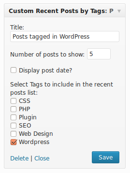 Recent Posts by Tags widget options. WordPress tag is selected