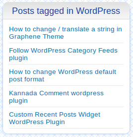 Recent Posts by Tags widget in sidebar showing recent posts tagged in WordPress tag.