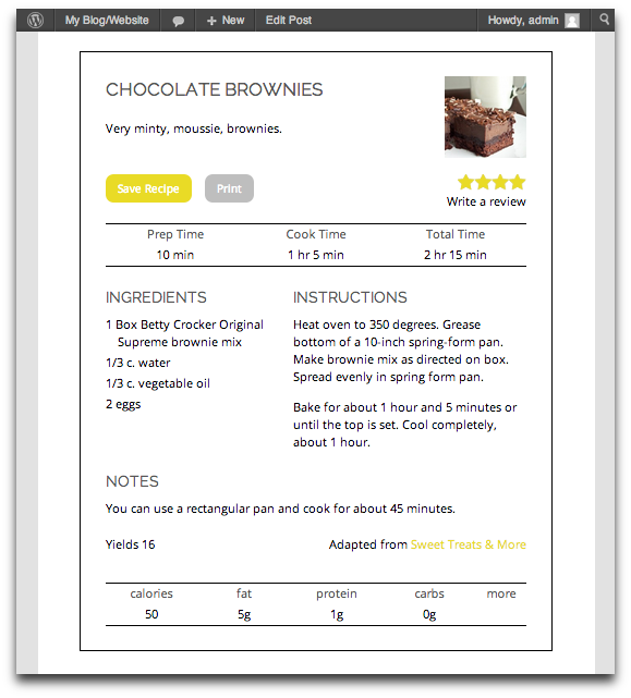 recipe card wordpress org