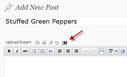 Click on the M icon to insert a grocery list in your recipe post.