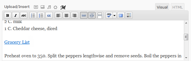 Example of a grocery list link.