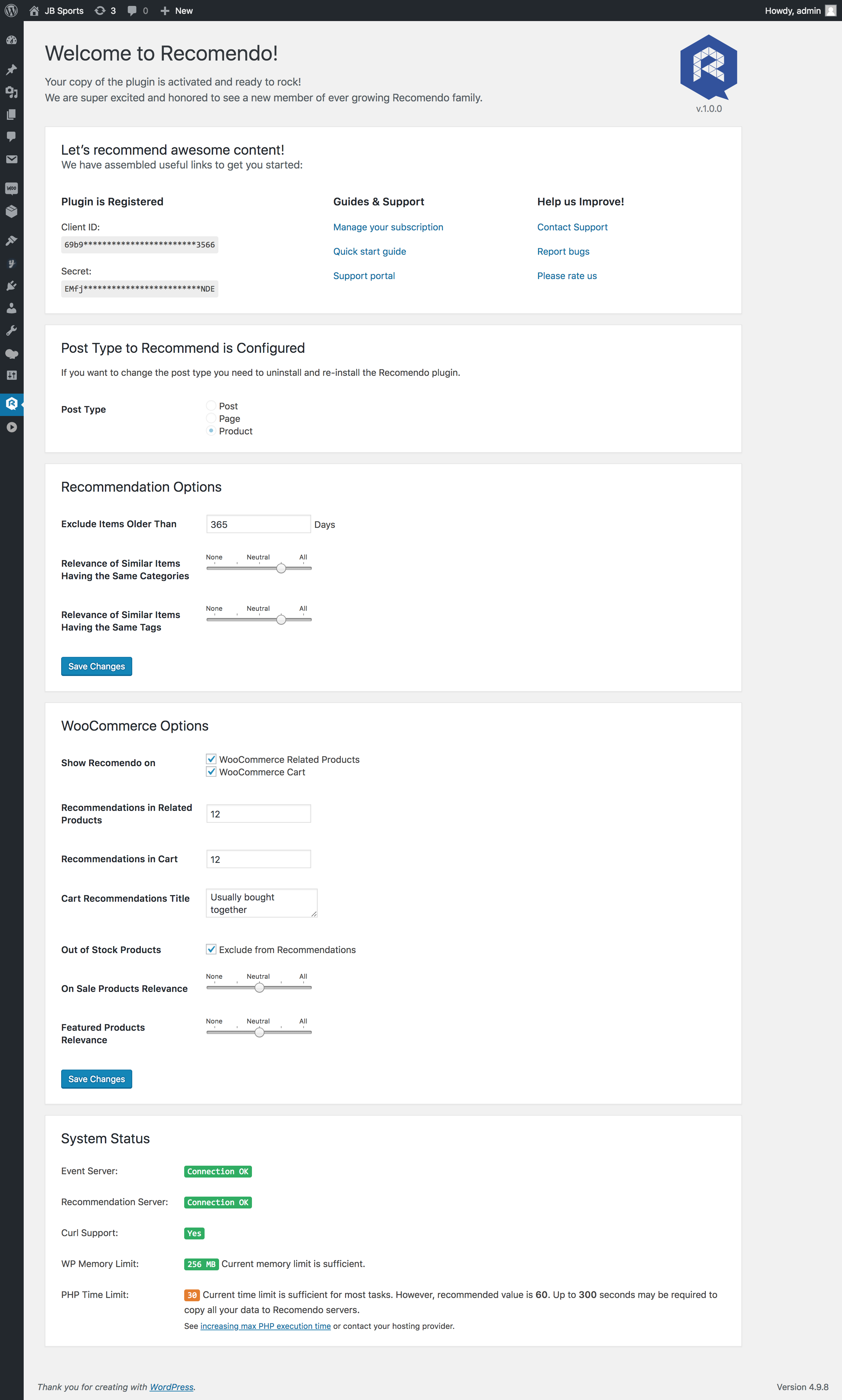 Here's what the interface for configuring Recomendo looks like.