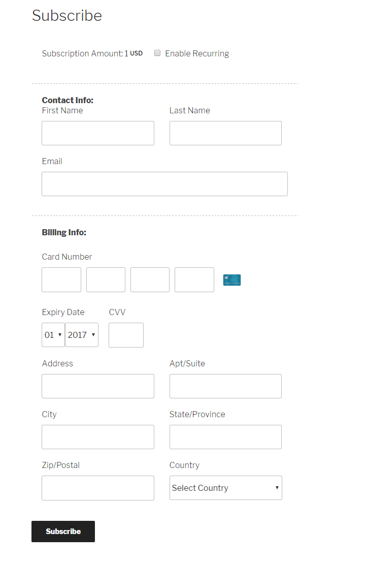 Screenshot - 2 : Subscription form on website.