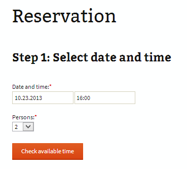 """Example of plugin first page installed into default theme. When plugin is activated, new """"Reservation"""" page is created. Step 1: Requests from user to select reservation date and time, and number of seats. User has to click on a button """"Check available time"""". System will query online database for available places at specified time and shows result."""