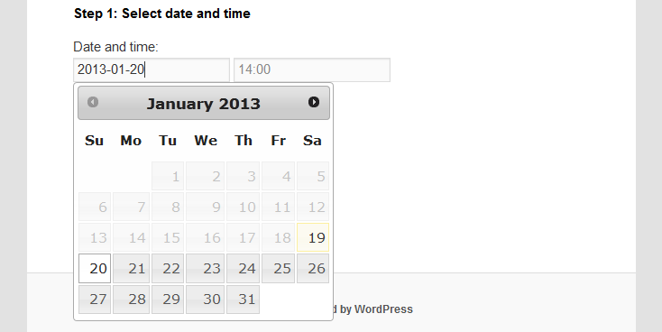 Example of calendar control.