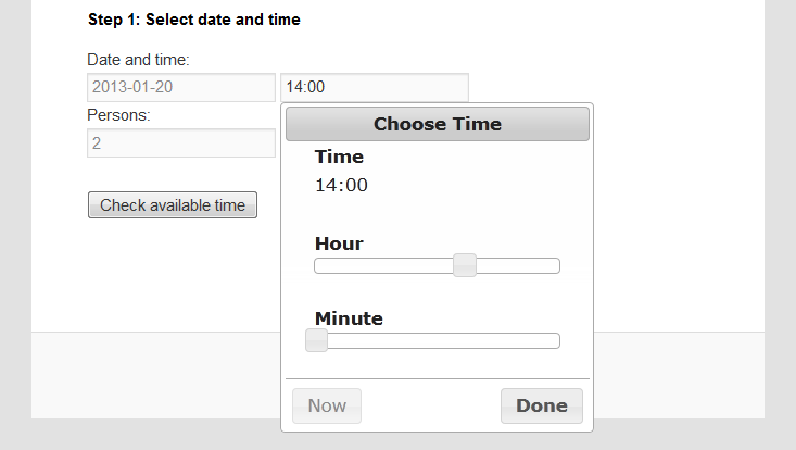 Example of time control.