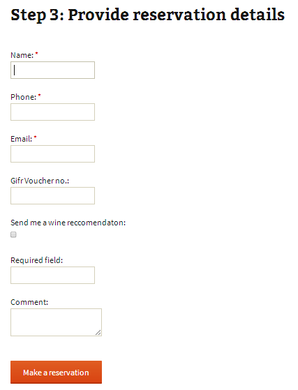 Step 3: Once user selects available reservation time, user will be requested to fill reservation form with contact information and custom fields.