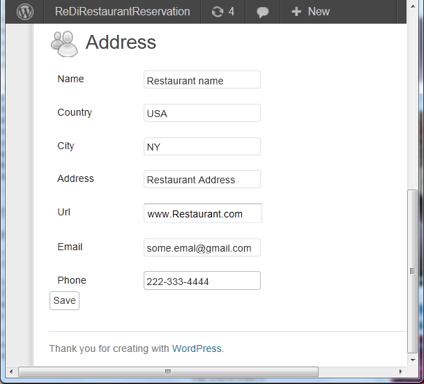 Setup screen with info on the restaurant including name, address, country, phone, email, URL