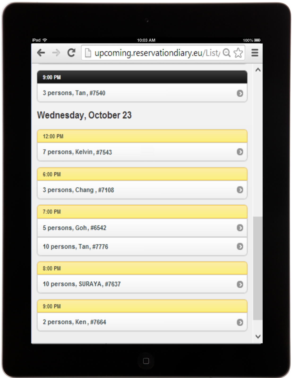 """List of upcoming reservations on Mobile/Tablet PC (Available only for Basic package users). Demo version can be accessed by this link: <a href=""""http://upcoming.reservationdiary.eu/en/Entry2/89a08039-2c68-47c4-978c-3acb3e9989ea"""">Open demo version</a>"""