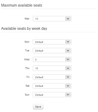 Configuration for maximum available seats for online reservation by week day. (Available only for Basic package users)