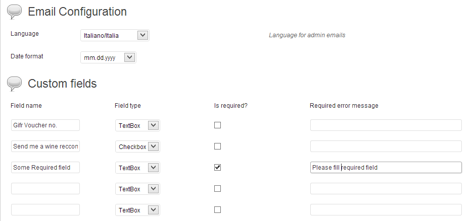 Setting for custom fields that user should fill during reservation