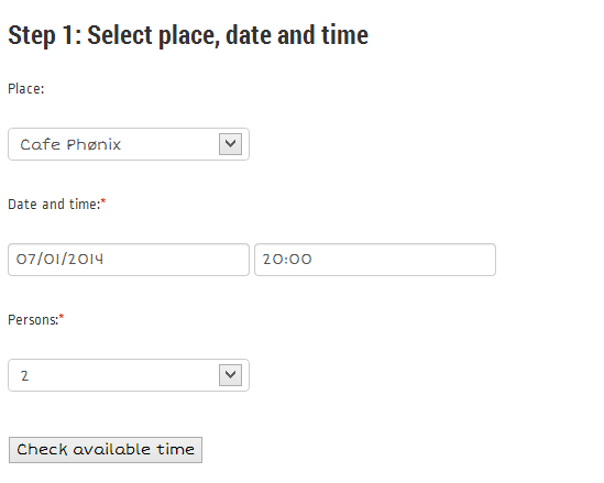 Step 1: Select place, date and time (Multiple places available only for Basic package users)