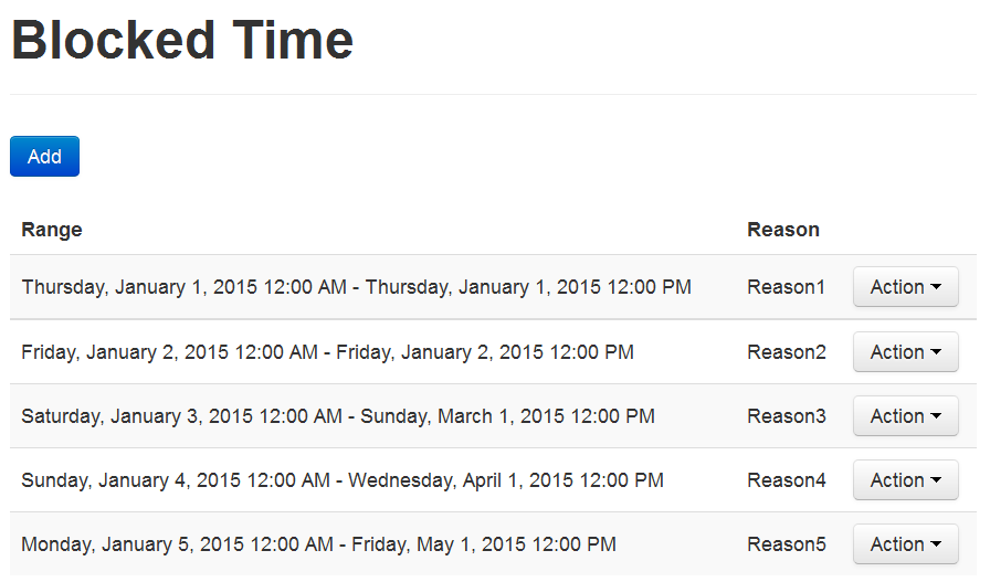 Blocked Time list. (Available only for Basic package users)