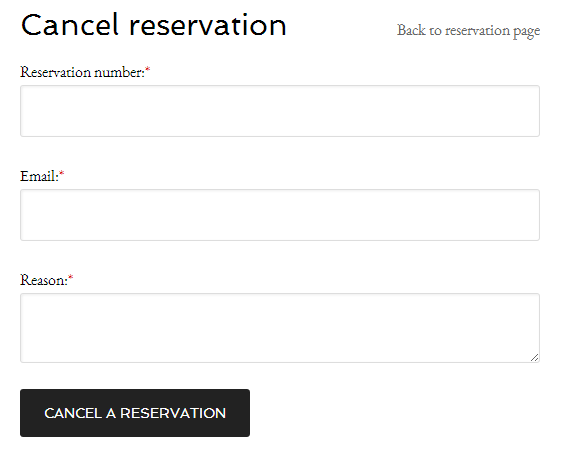 Cancel reservation page for clients.