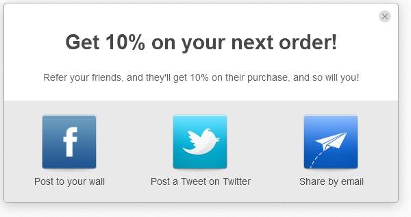 <p>Refer a Friend - Customer sharing options.</p>