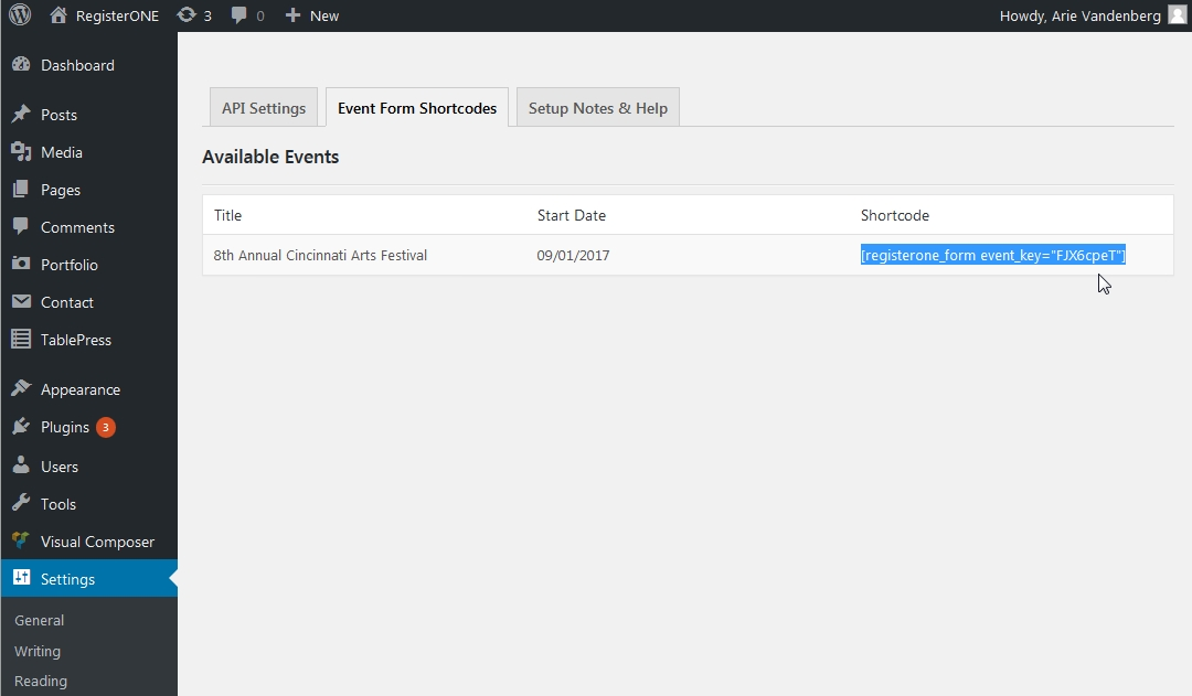 Access your event form shortcodes on the Shortcode tab.