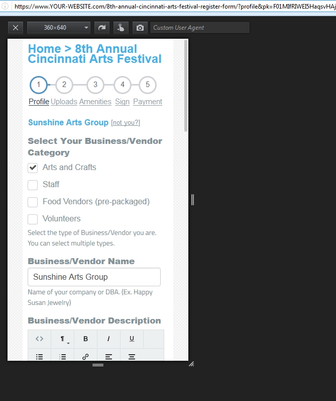 Forms are mobile friendly for tablets and smartphones.