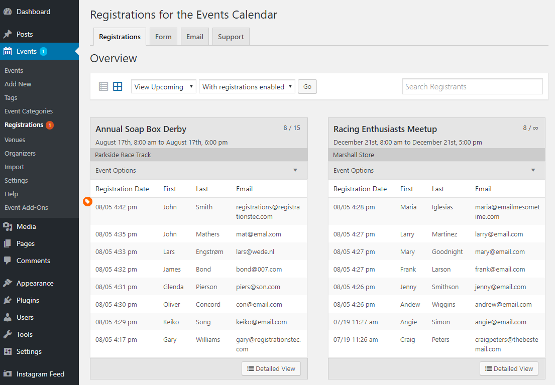 The Registrations tab in at-a-glance view