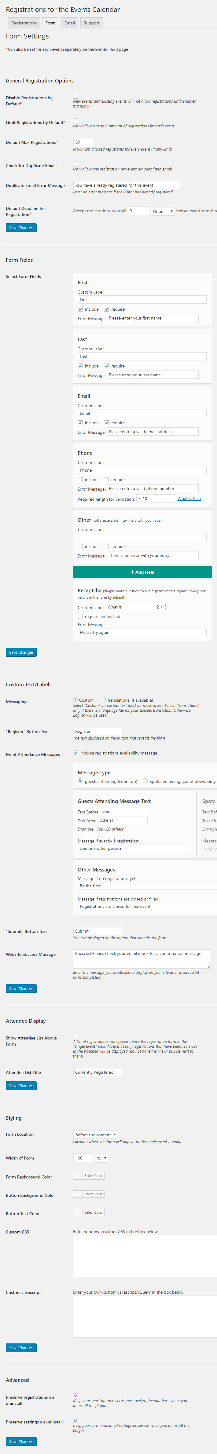 """View of the settings on the """"Form"""" tab"""