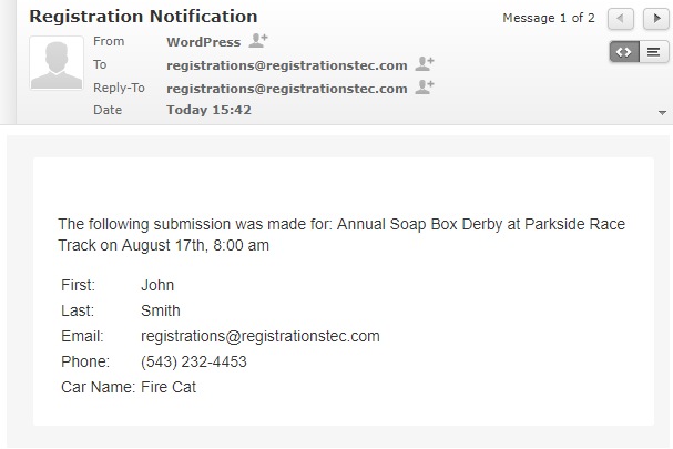 Example notification email