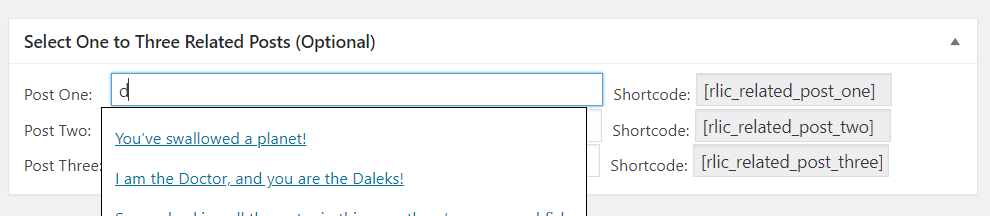 """""""Select One to Three Related Posts (Optional)"""" box inside add or edit new post/page"""