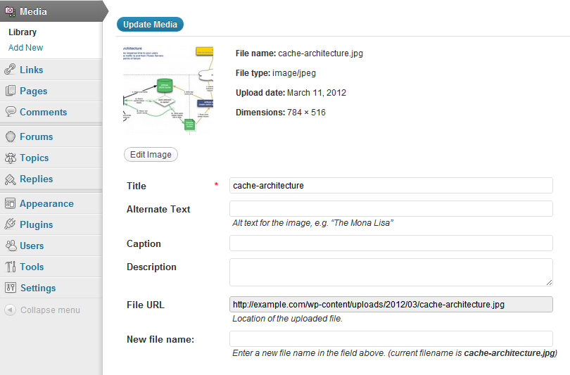 Example of new file name field on media edit form