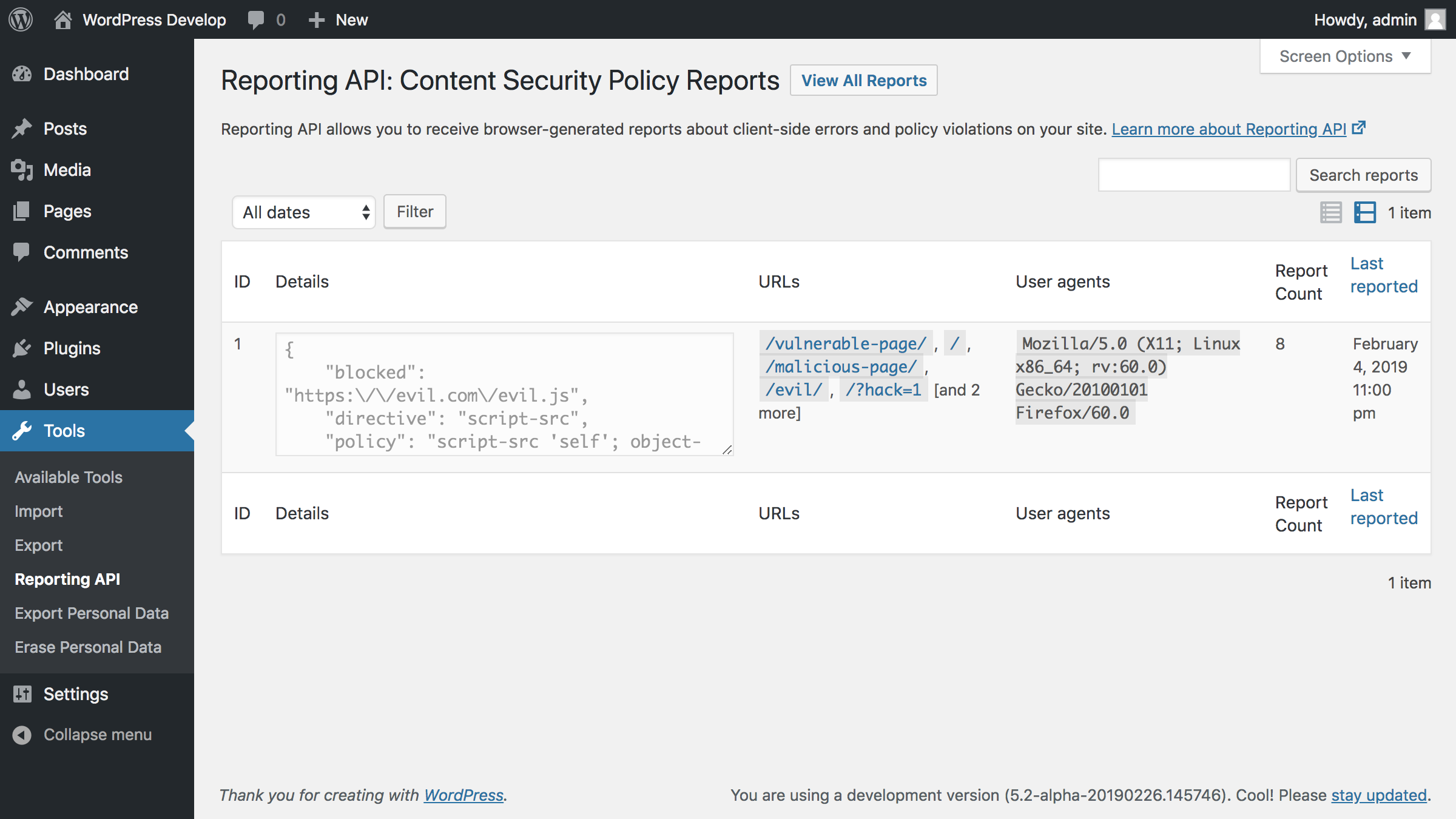 Reports admin screen, filtered by a specific report type