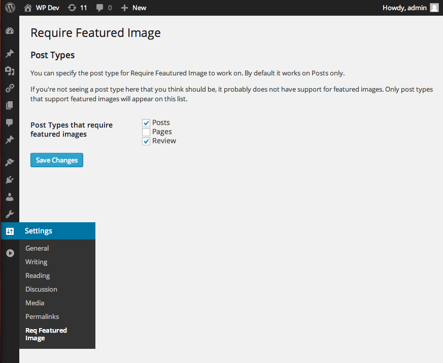 <p>The settings page, which lets you specify which post types the plugin should operate on.</p>