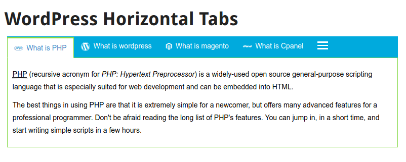 WordPress responsive horizontal tabs