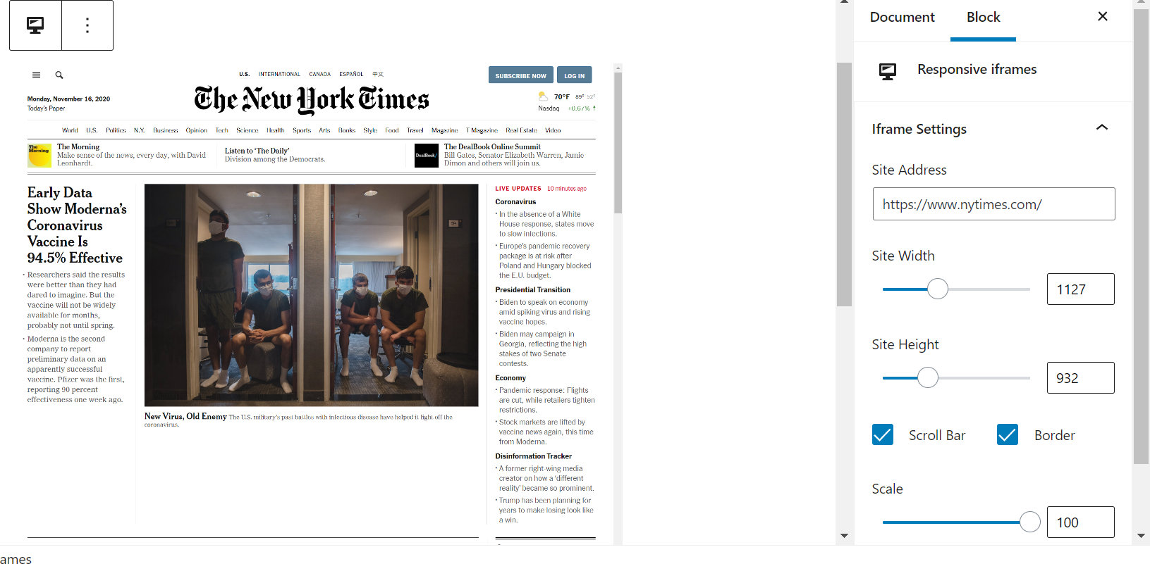 Example of New York Times in an iframe.