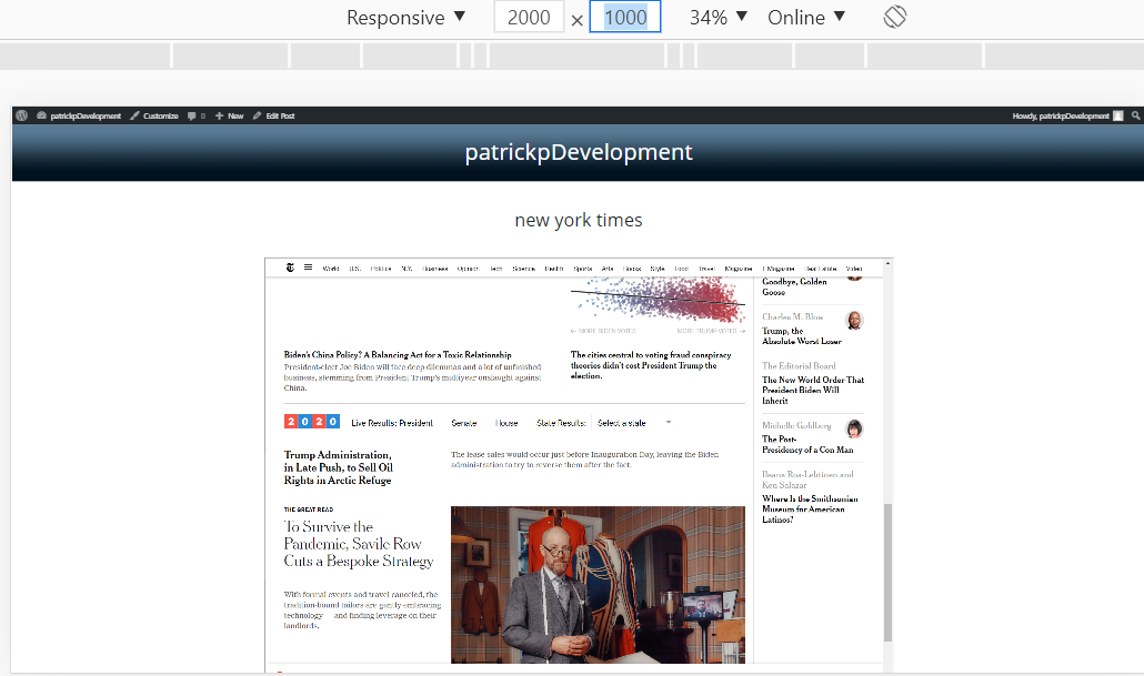 The iframe in the website, demonstrating from a desktop viewpoint.