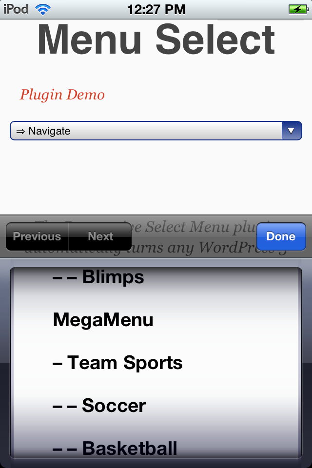 Responsive select menu on the iPhone/iPod Touch