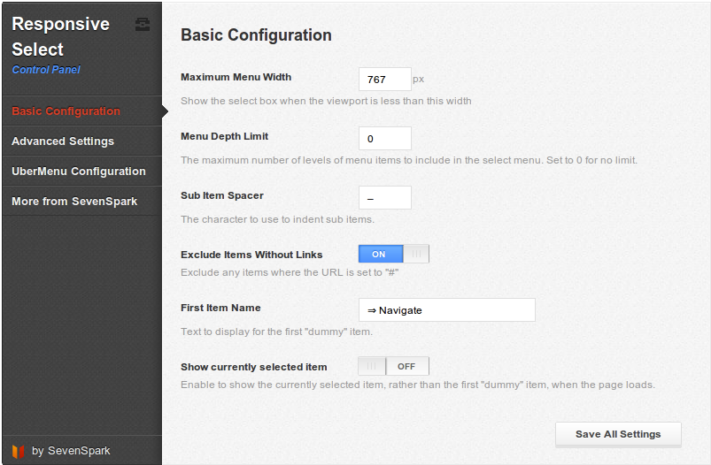 Responsive select menu Control Panel