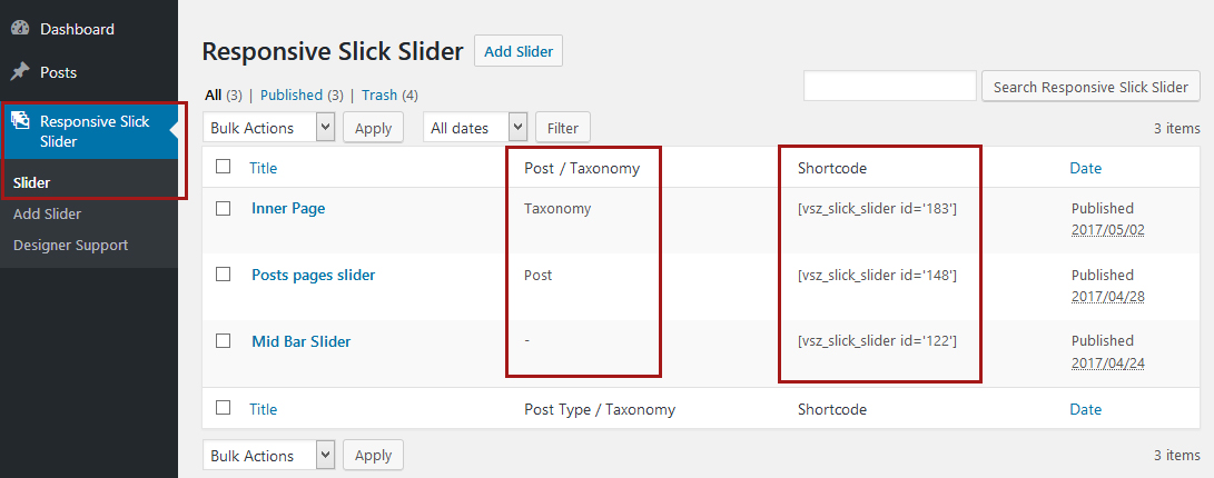 Display creates slider list with short code
