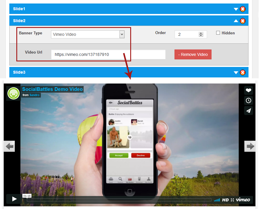Vimeo video back end and Front end