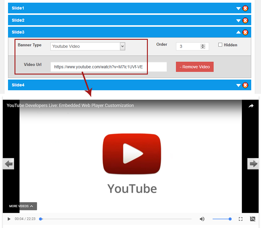 YouTube video back end and Front end