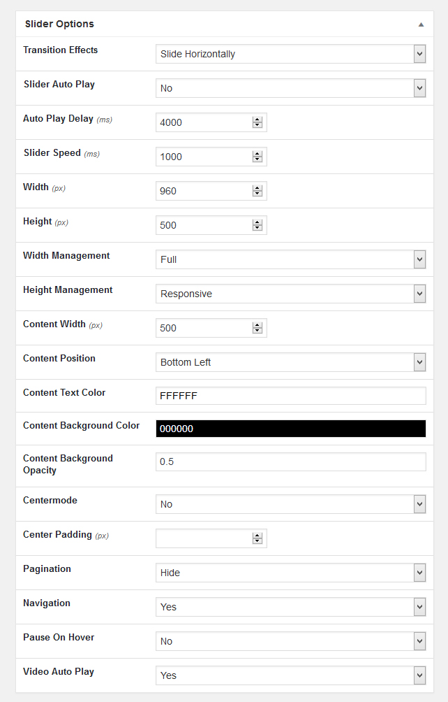 Slider setting option screen