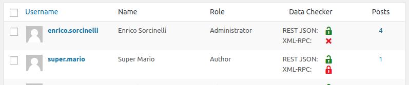 User list administration screen.