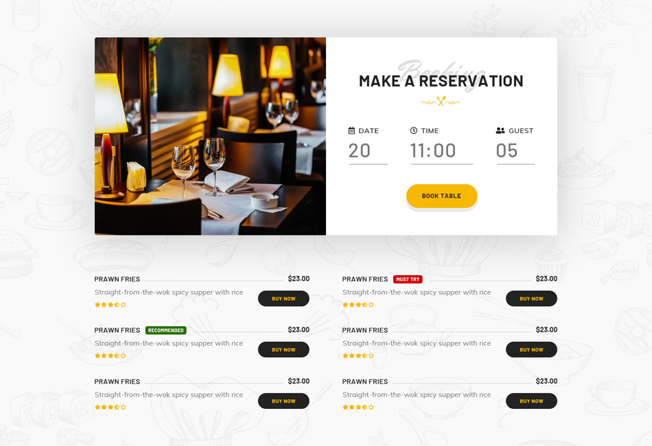 Reserve your table using Open-Table