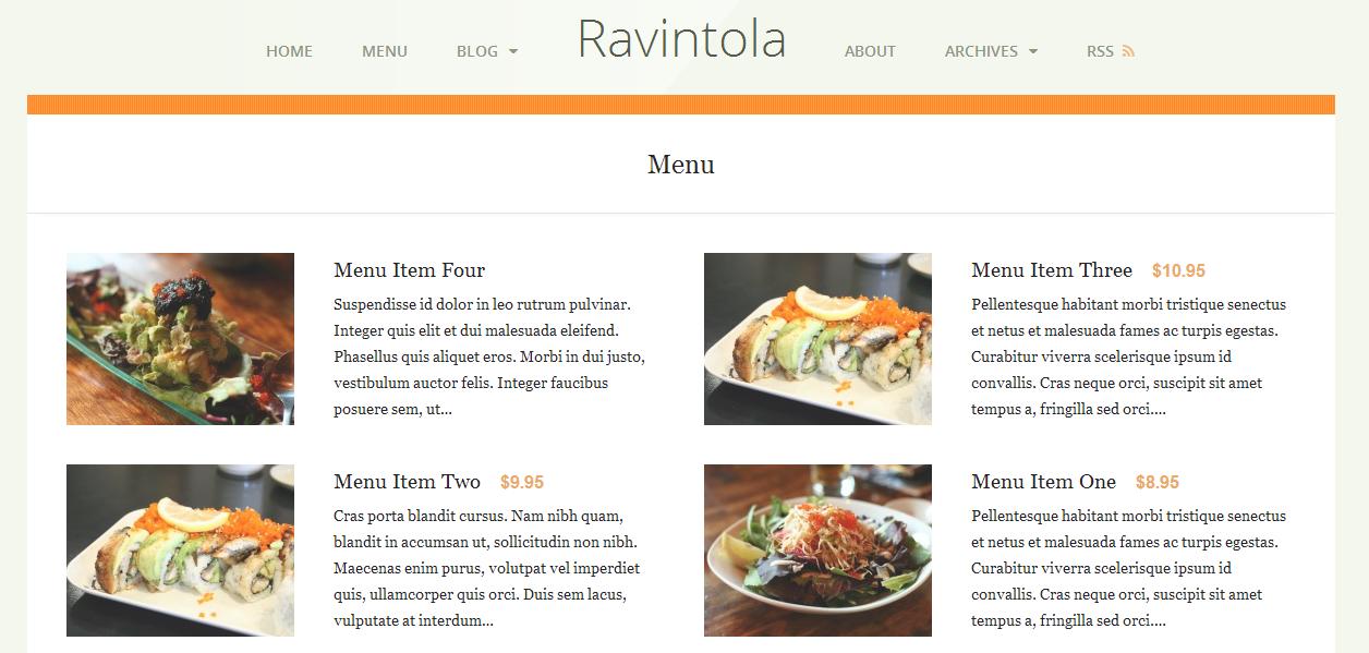 Ravintola theme using the plugin