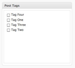 <strong>Restricted Tags</strong> - For non-administrative users, the tags UI becomes similarly to the categories UI. Checkboxes are used instead of the usual free text field.