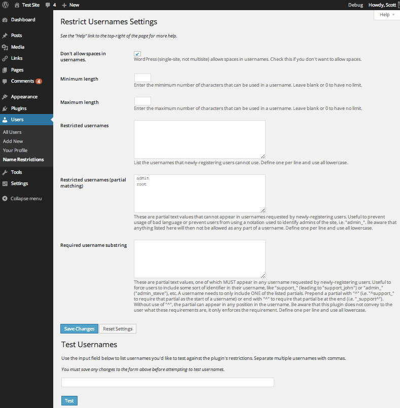 A screenshot of the plugin's admin settings page.