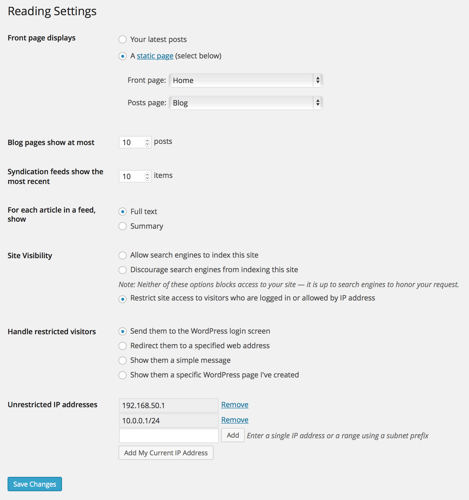 Restricted Site Access settings shown within the Reading Settings in WP Admin